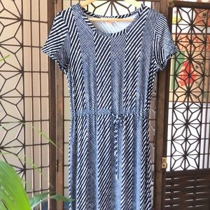 Michael Kors Navy Striped Maxi Drawstring Dress